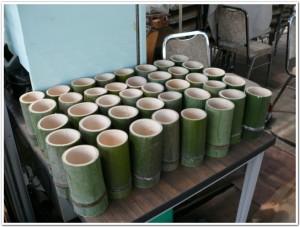 手のひらサイズの竹プランター