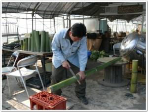 竹プランター用にノコギリで切る