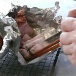豚のブロックを焼いた