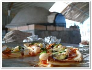 ピザ窯について新聞取材
