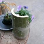 竹プランターに穴を開ける