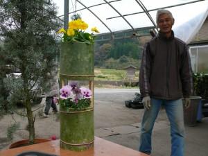 創作竹プランターを作る