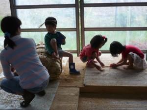 もみ殻で遊ぶ子供たち