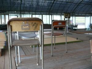 懐かしさある教室の椅子