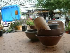竹プランター、陶器プランター