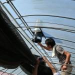 ハウスの天井に温度湿度調整器具